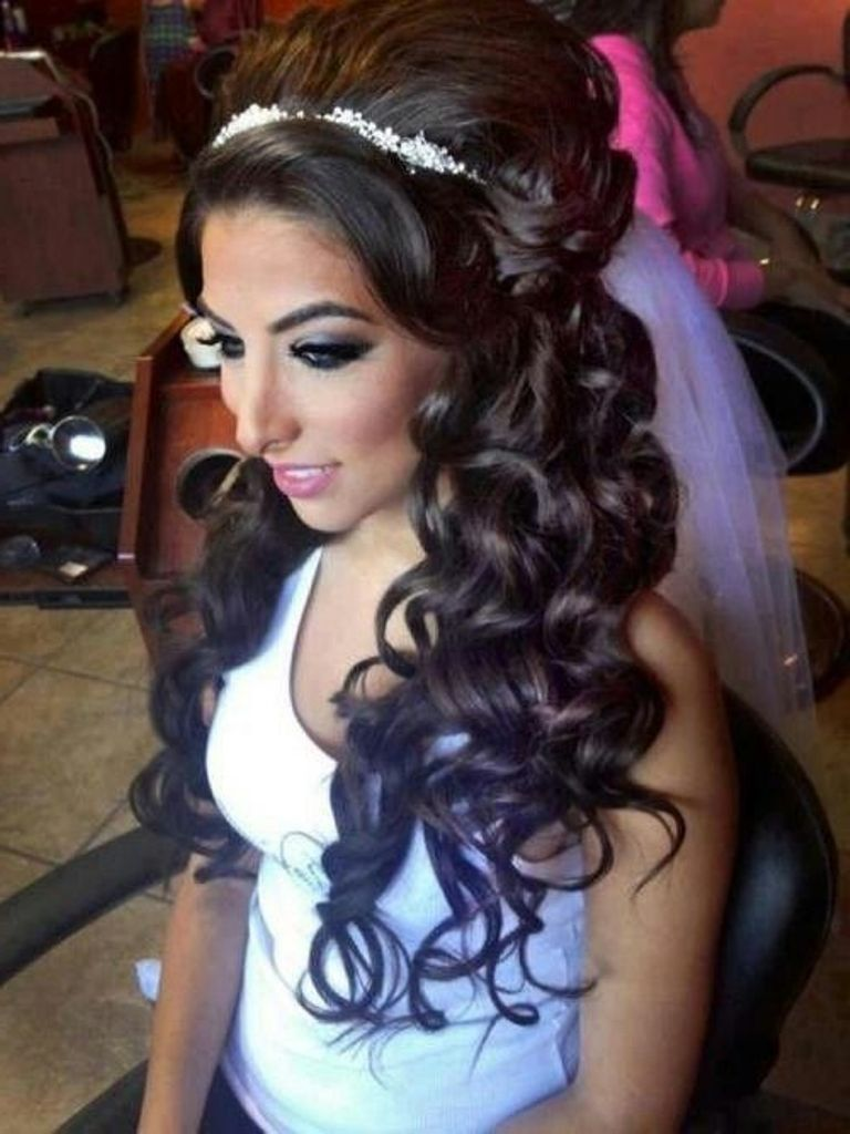 Elegant Black Wedding Hairstyles For Long Curly Hair