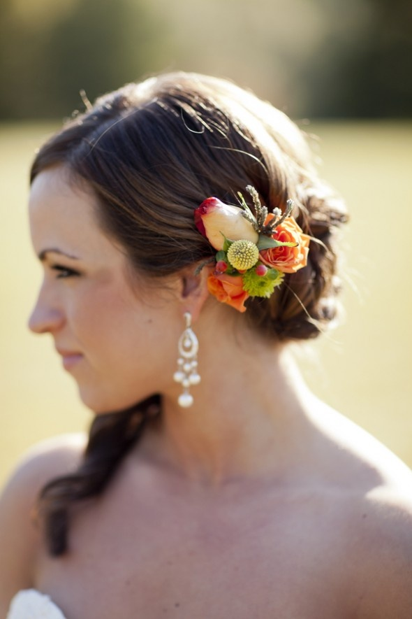 Fall Wedding Hairstyles Fall Flowers in Brides Hair