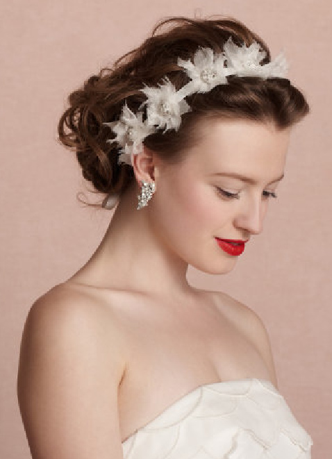 Wedding Hairstyles for Round Faces with Headpieces