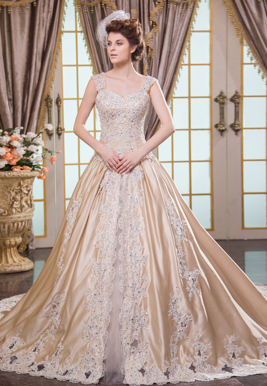 Champagne Wedding Dresses with Sleeves