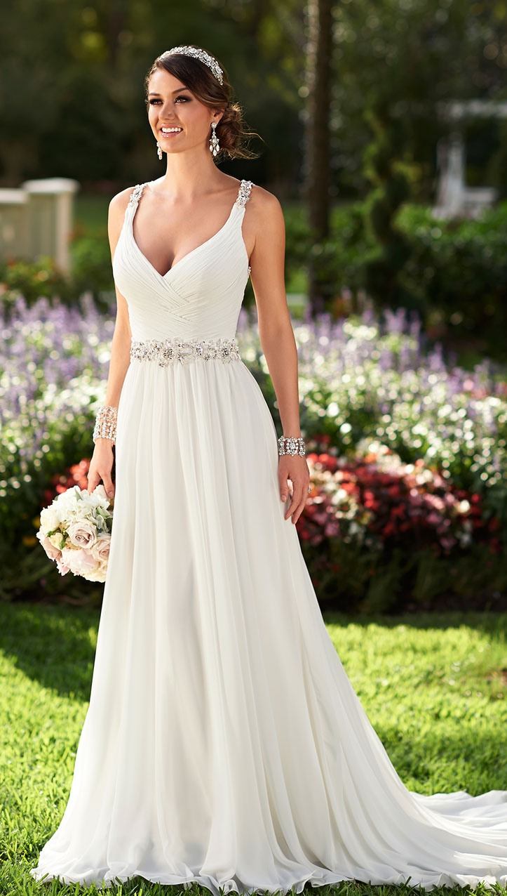 Chiffon Crystal Wedding Dresses with Straps