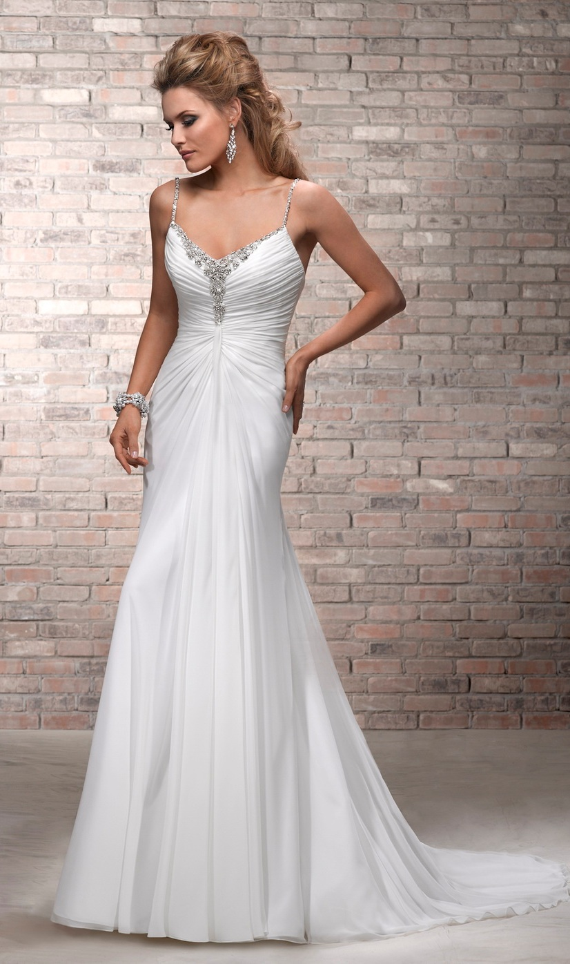 Chiffon Wedding Dresses with Straps