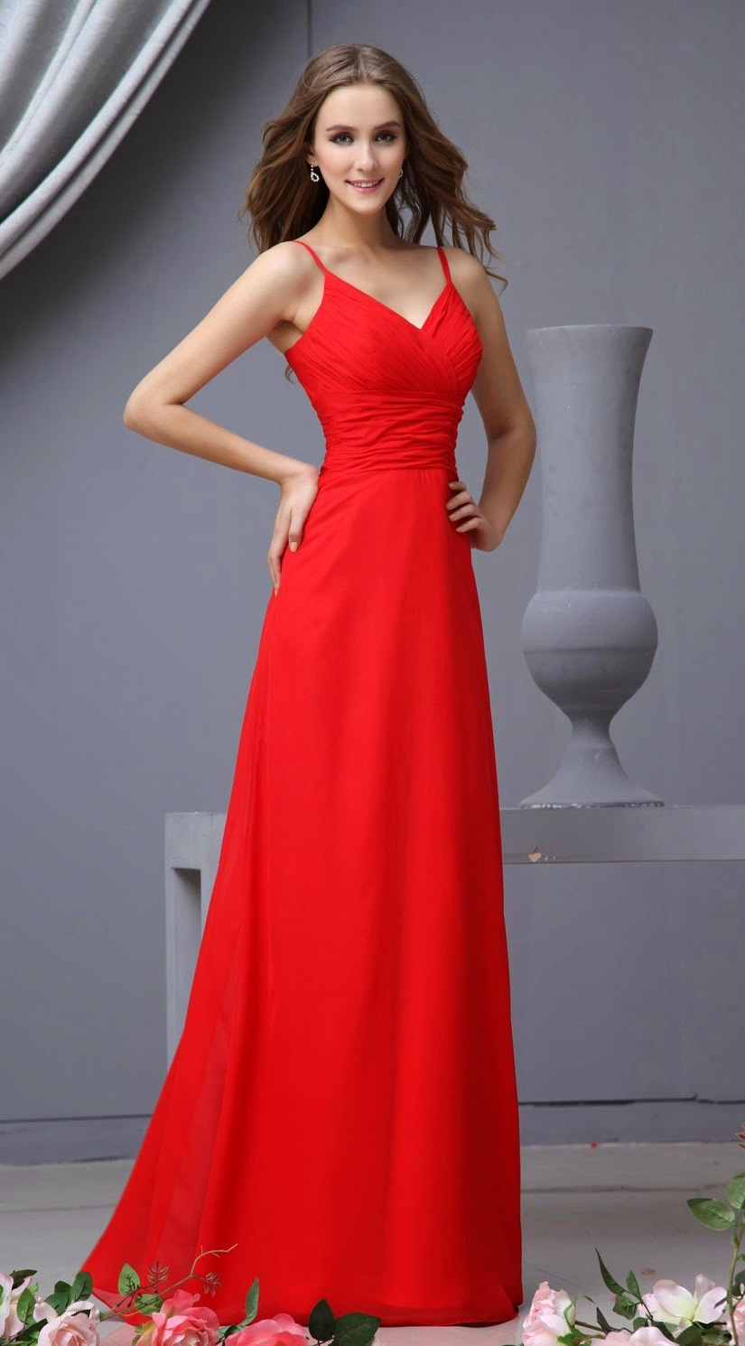 Elegant Red Bridesmaid Dresses with Straps