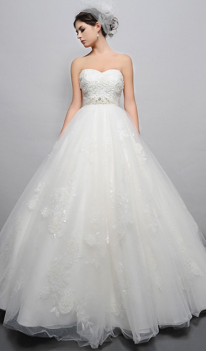 Empire Waist Ball Gown Tulle Wedding Dresses