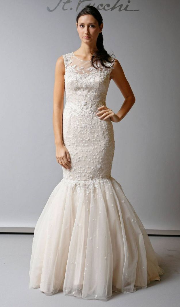 Illusion Neckline Trumpet Wedding Dresses