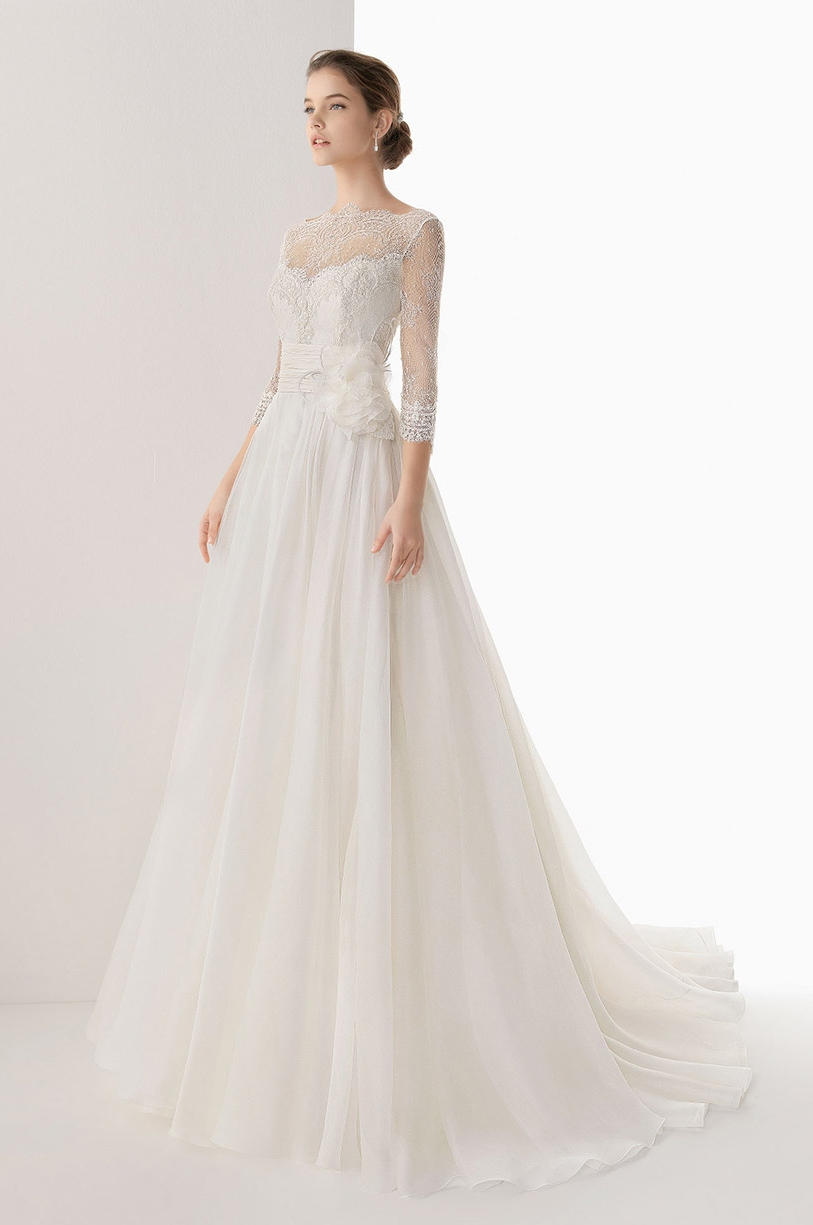 Long a Line Wedding Dresses with Sleeves