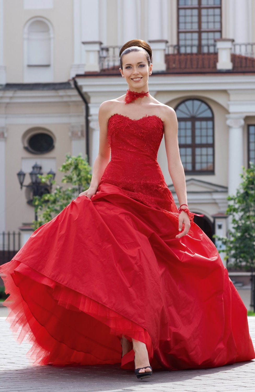 Puffy Red Wedding Dresses
