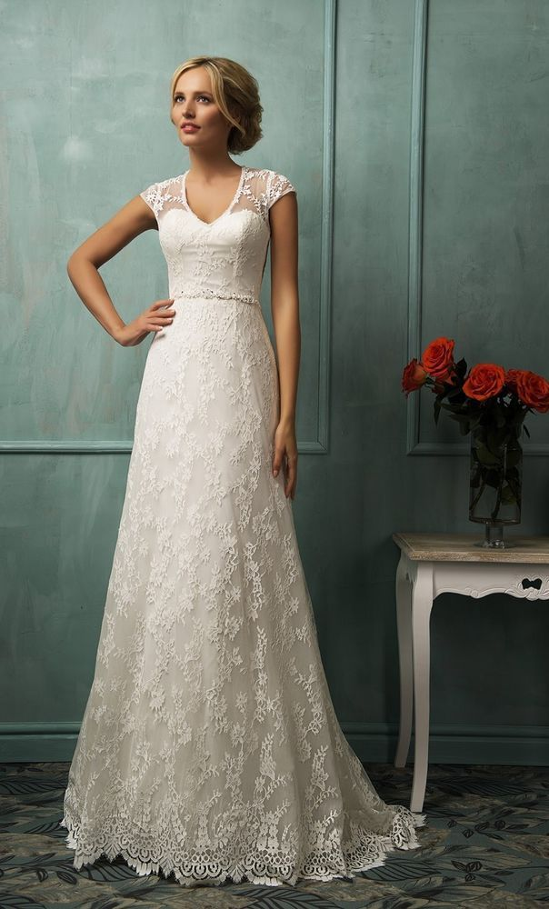 Sheer Back Lace Ivory Wedding Dresses