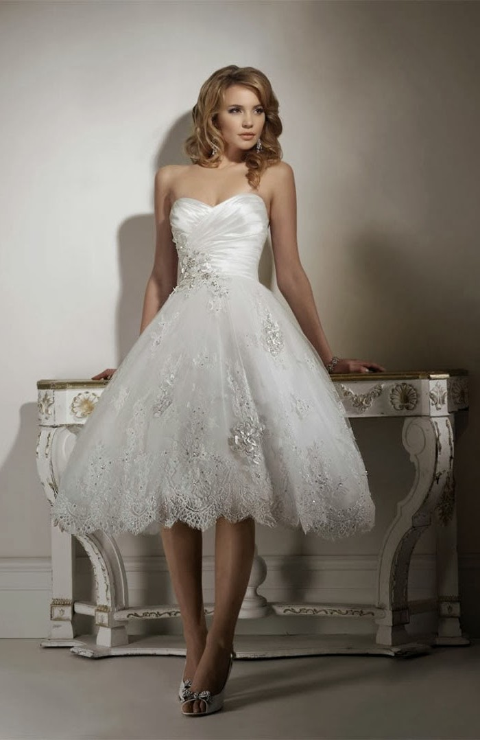 Short Lace Ball Gown Country Wedding Dress