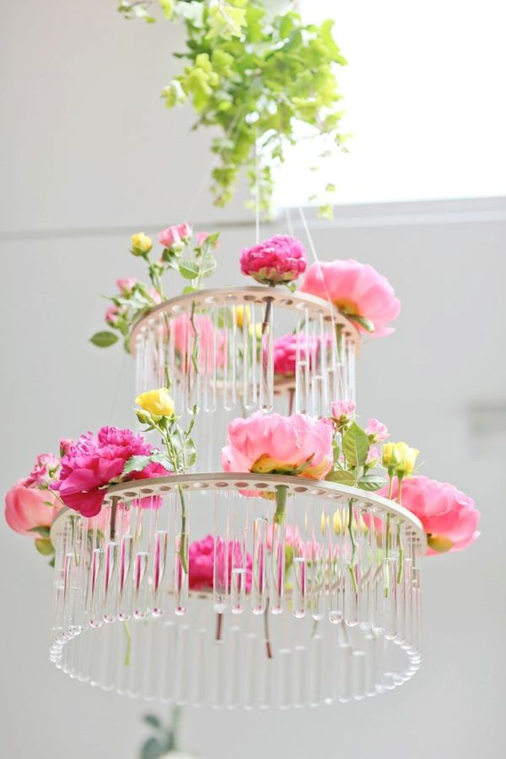Spring Wedding Inspiration Floral Chandelier