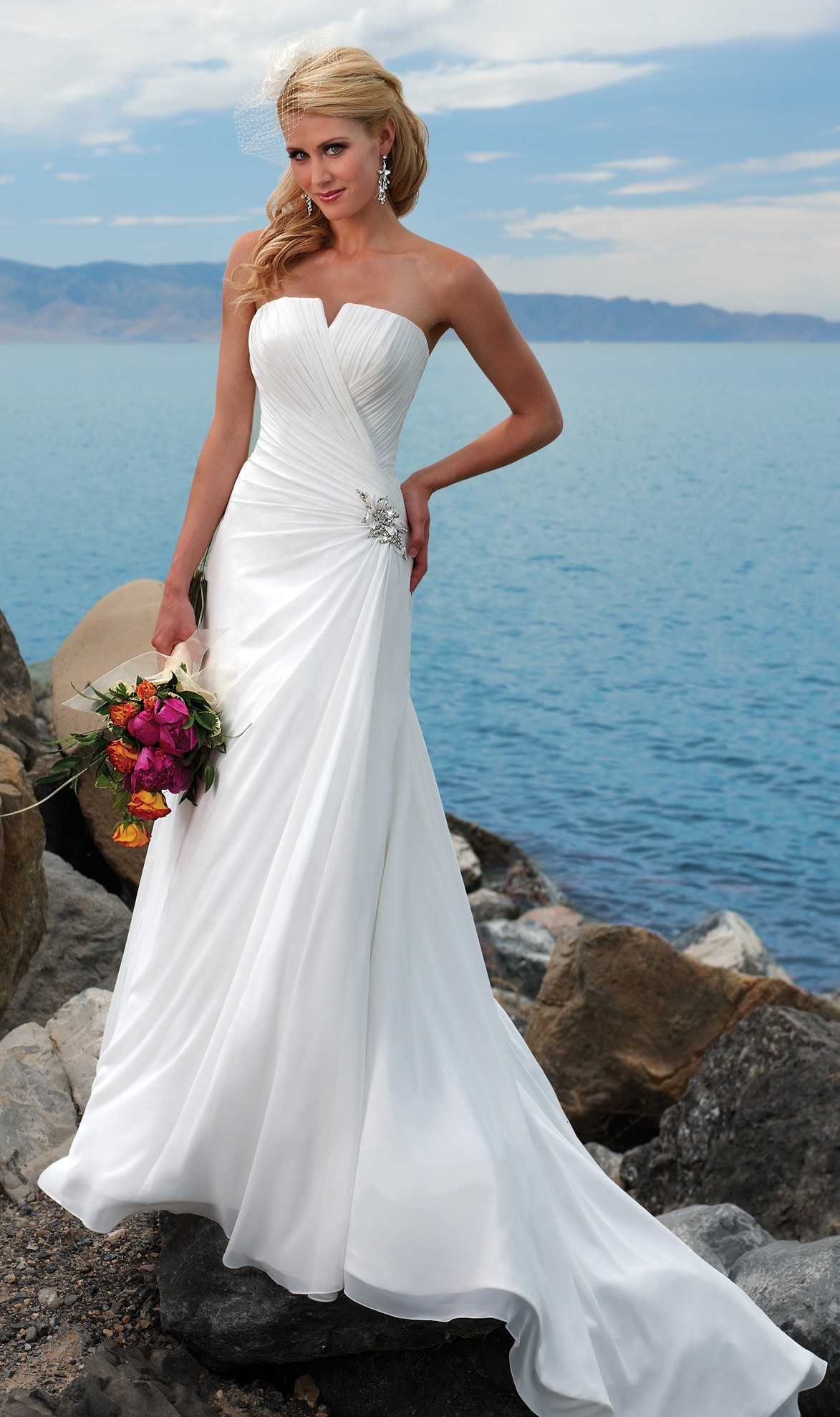 Strapless Beach Big Wedding Dresses