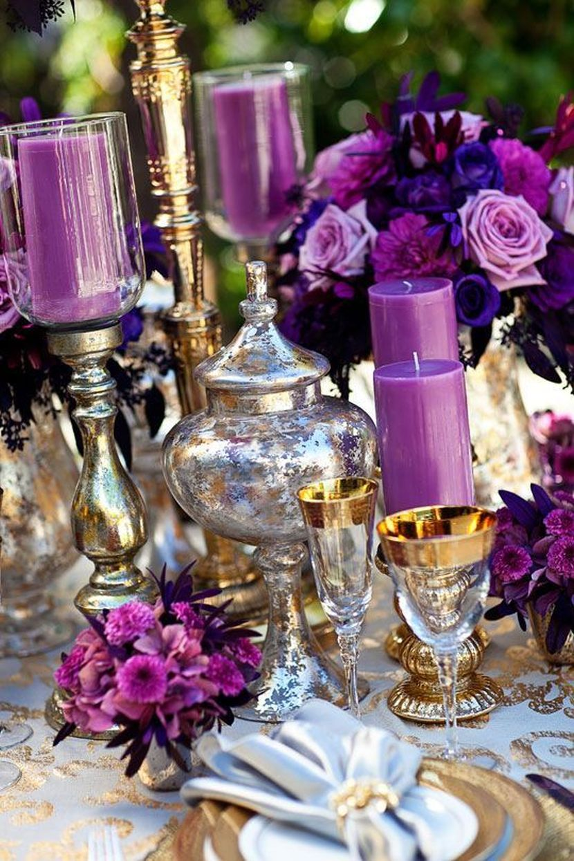 Trendy Purple Wedding Table Decoration Ideas