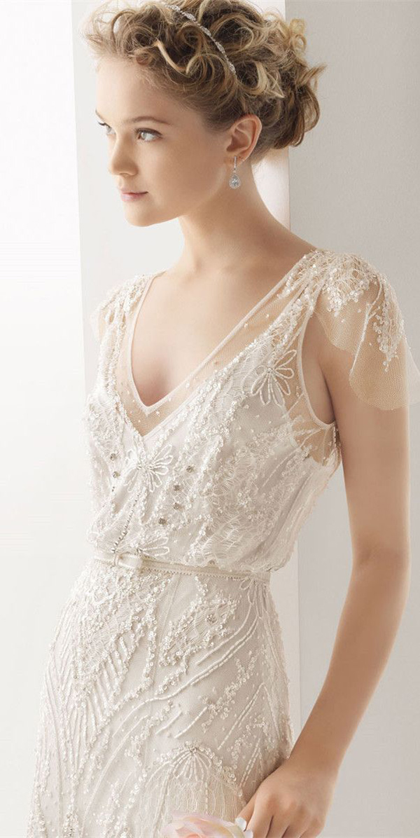 vintage lace and sequins wedding dresses