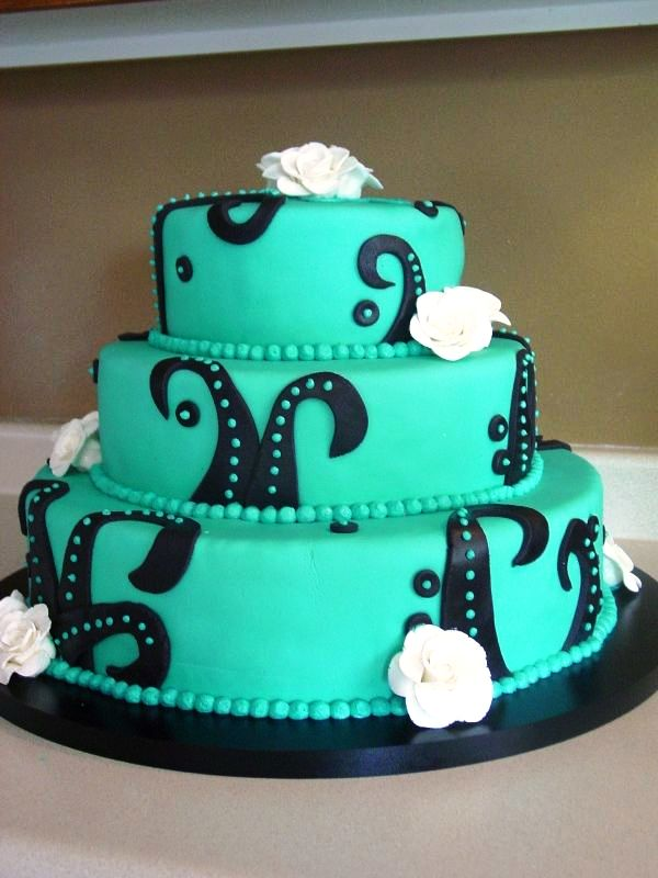 Black and Teal Wedding Cake Decorations