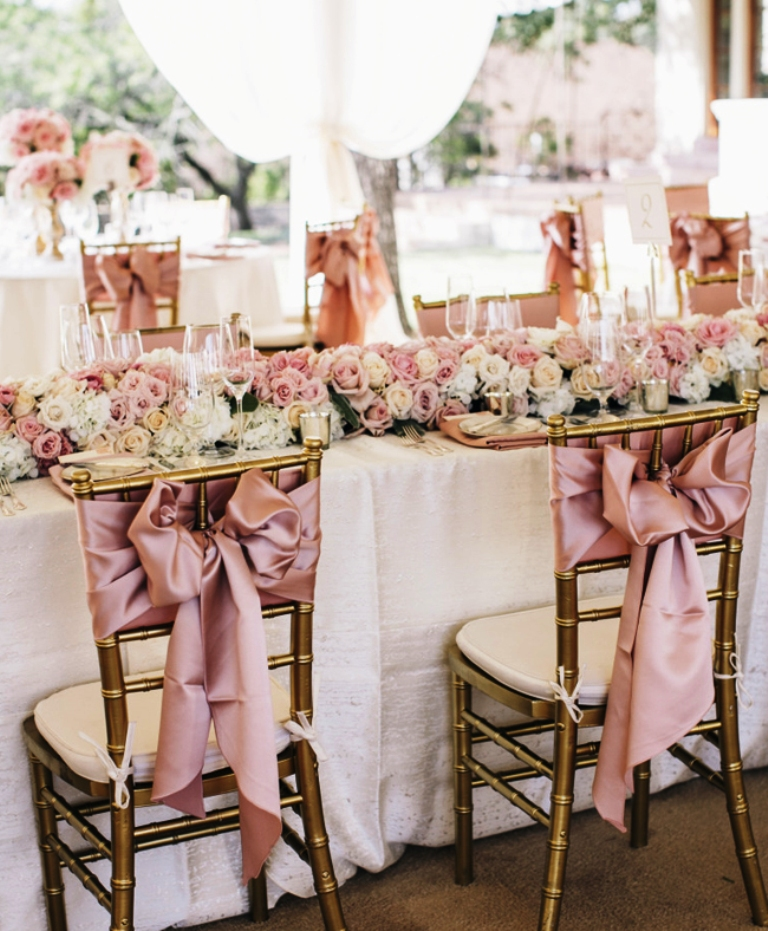 Blush Pink Wedding Chair Decorating Idea
