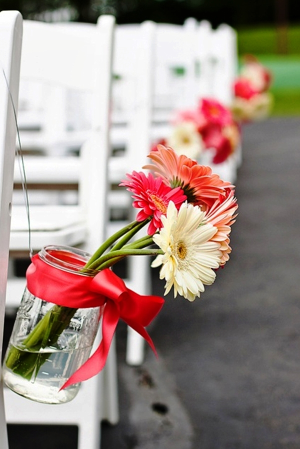 Gerber Daisy Aisle Wedding Flowers Decorations