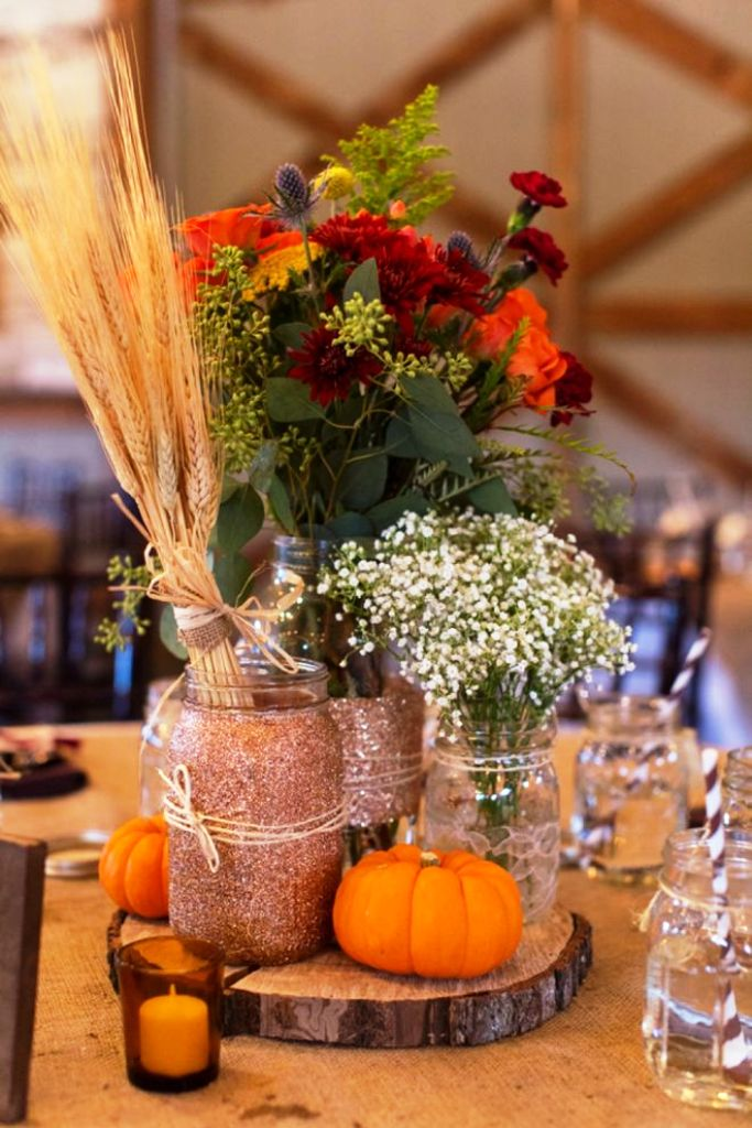 Glitter mason jar Autumn Wedding Decorations