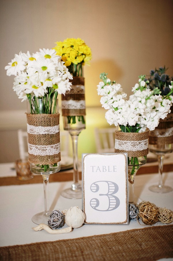Lace and Burlap Wedding Centerpieces Decorations