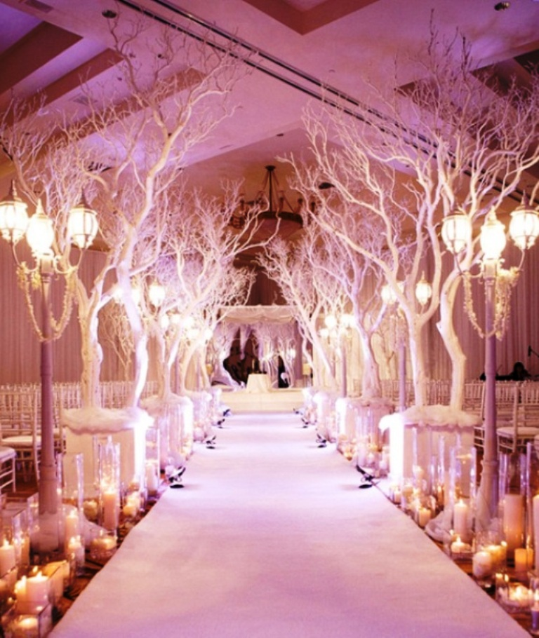 Stylish Indoor Wedding Aisle Candles Decorations