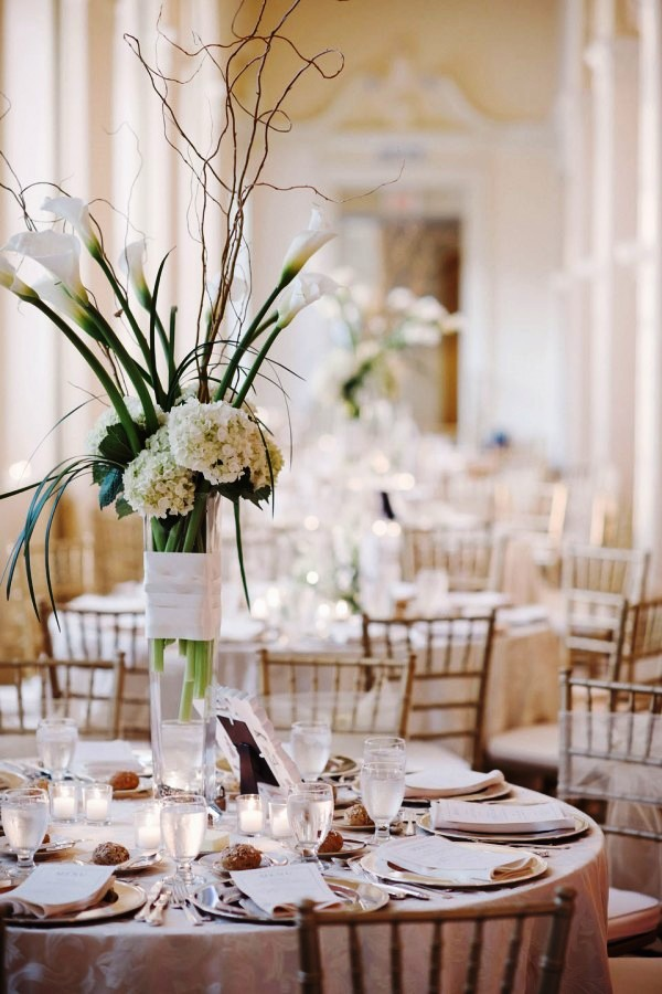 White Tall Wedding Centerpiece Decorations