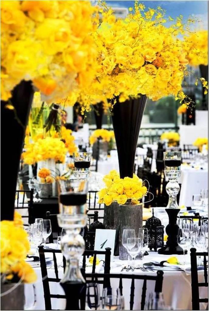 Yellow and Black Wedding Decorations