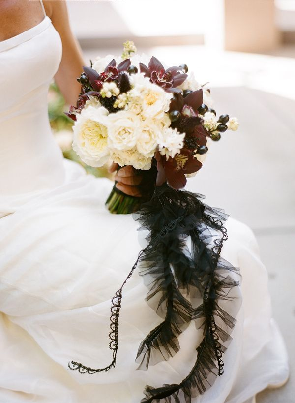 Black and White Halloween Wedding Bouquet