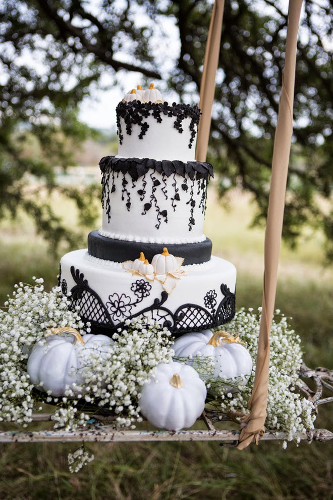 Black and White Halloween Wedding Cake