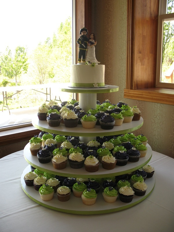 Green and Purple Halloween Wedding Cupcakes