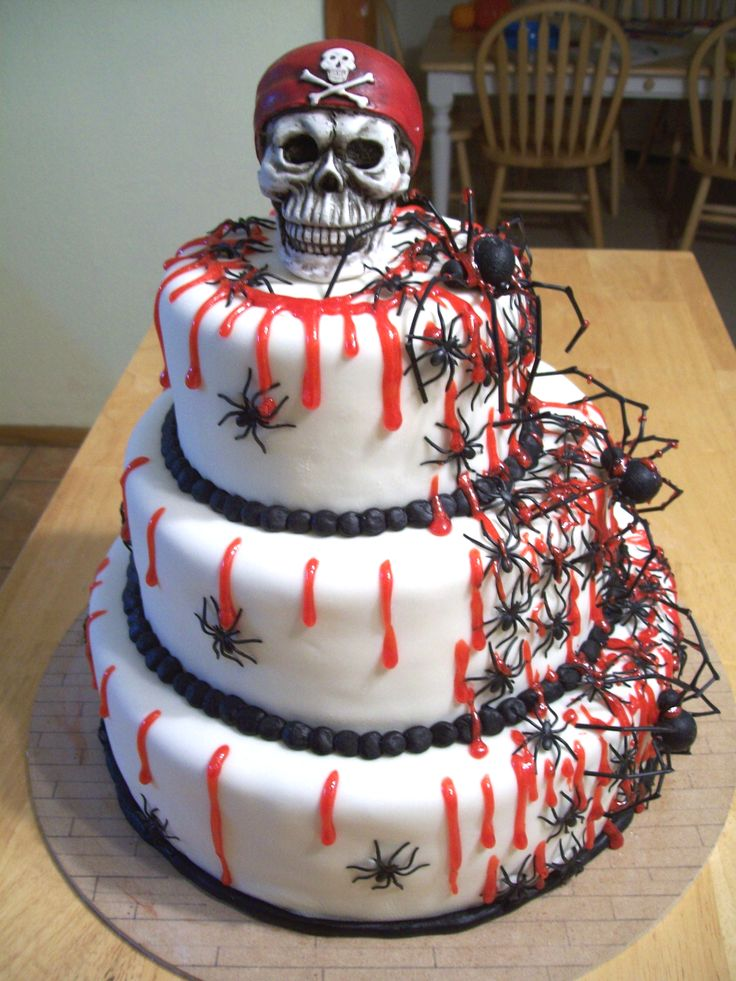 Halloween Skull Wedding Cake