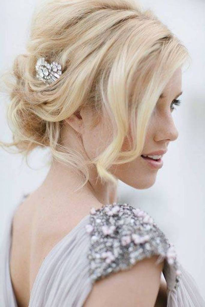 Beachy Waves Wedding Hairstyles With Bangs