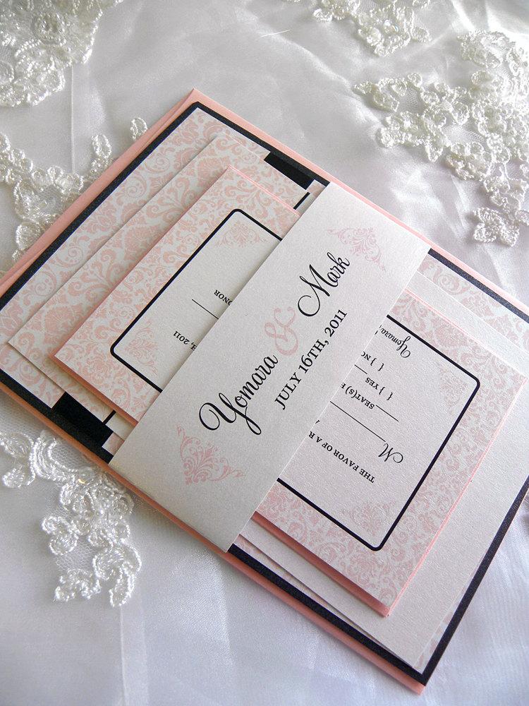Blush Pink And Black Wedding Invitation