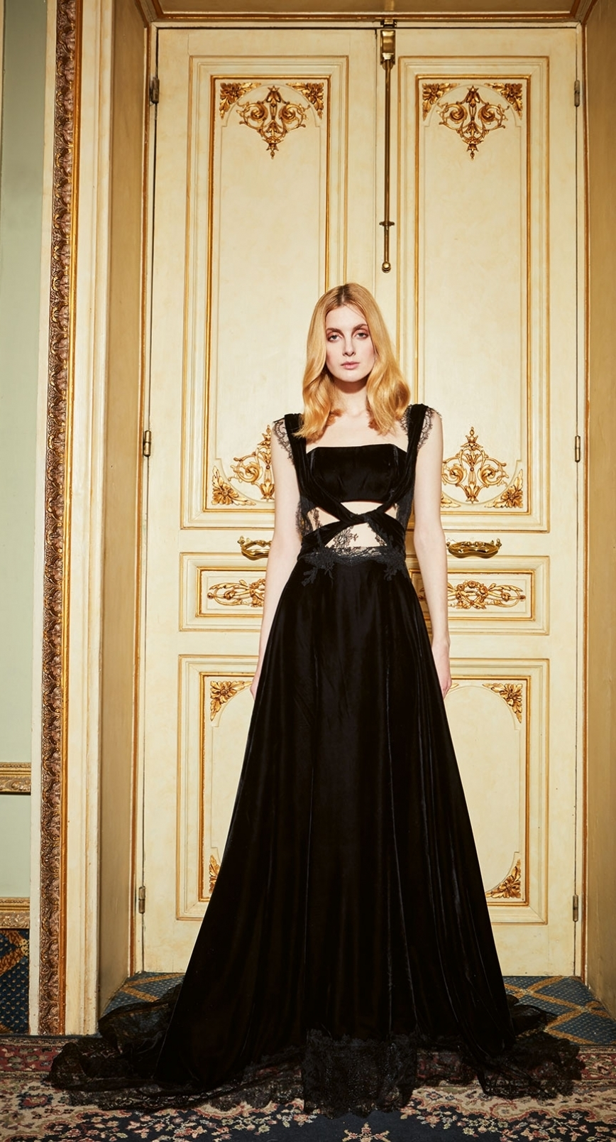Black silk velvet inspires a line of high-end couture dresses